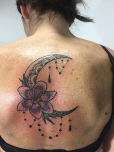 Ornamental tattoo moon flower